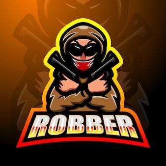 Projekt logo esport maskotka złodziej strzelca