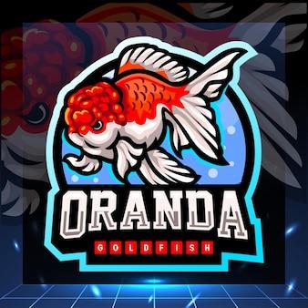 Projekt logo esport maskotka złota rybka oranda