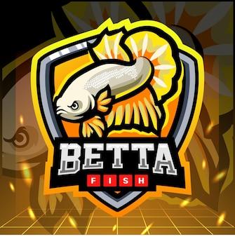 Projekt logo esport maskotka żółta ryba betta