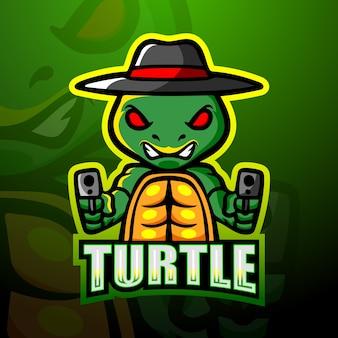 Projekt logo esport maskotka żółw strzelec