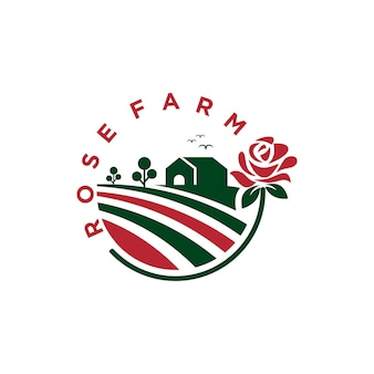 Projekt logo farmy róż, odniesienie do logo dla twojego rolnictwa