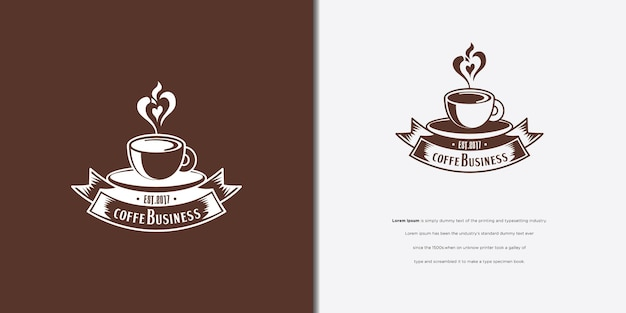 Projekt logo filiżanki kawy na czarnym brązowym tle