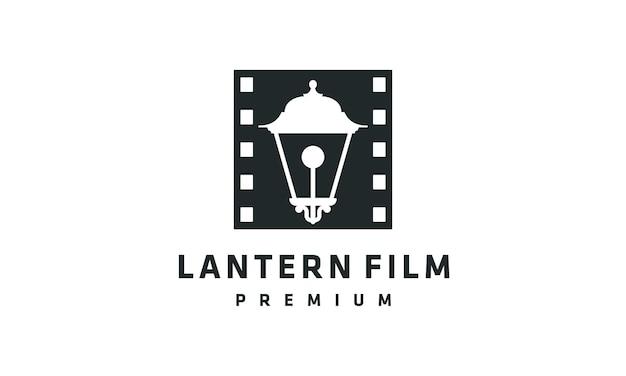 Projekt logo filmu z latarnią w stylu retro