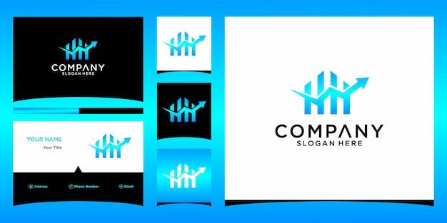 Projekt logo finansowego domu z szablonem wizytówki