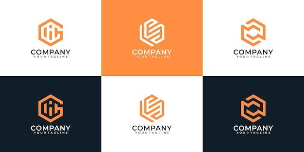 Projekt logo firmy abstrakcyjnego sześciokąta