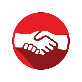 Projekt logo forum uścisk dłoni z ilustracją transakcji