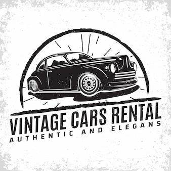 Projekt logo garażu hot rod z emblematem naprawy samochodu muscle car