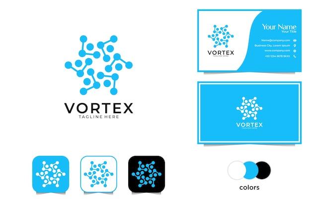Projekt logo geometrii vortex i wizytówki