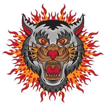 Projekt logo głowy białego lwa