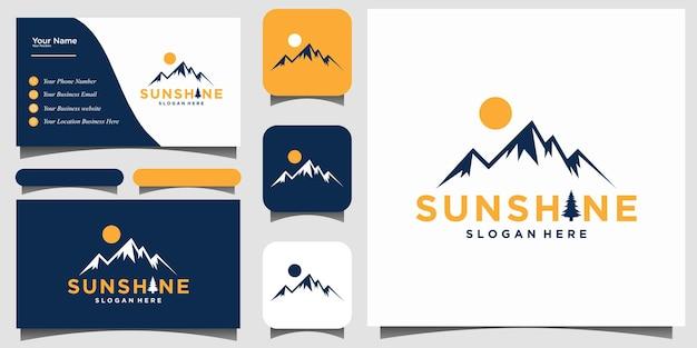 Projekt logo górskiego z wektorem szablonu wizytówki