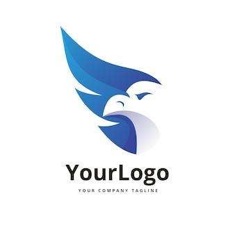 Projekt logo gradientowego koloru orła wektor premium