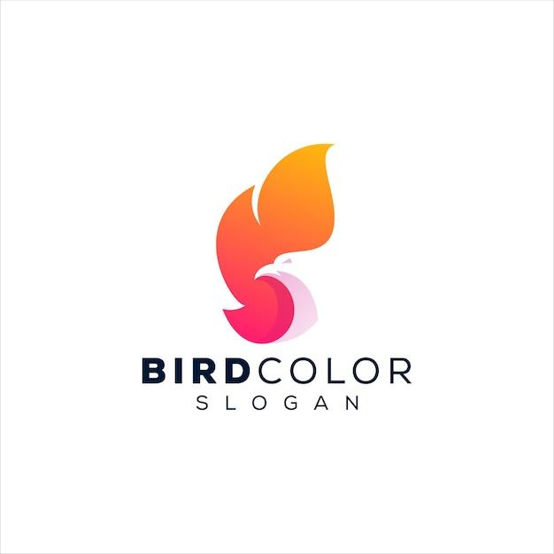 Projekt logo gradientowego ptaka phoenix