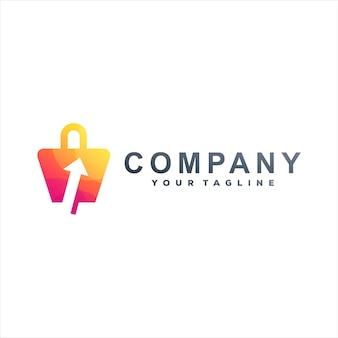 Projekt logo gradientowego torby na zakupy