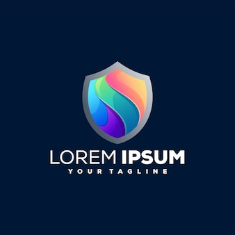 Projekt logo gradientu bezpieczeństwa tarczy