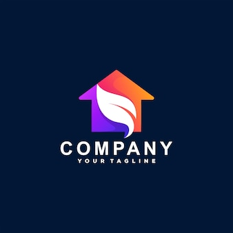 Projekt logo gradientu kolorów domu