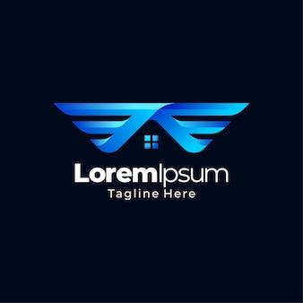 Projekt logo gradientu skrzydła domu
