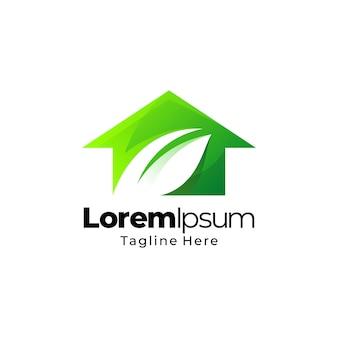 Projekt logo gradientu zielony dom liści