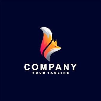 Projekt logo gradientu zwierząt lisa