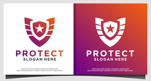 Projekt logo gwiazdy tech protect tarczy