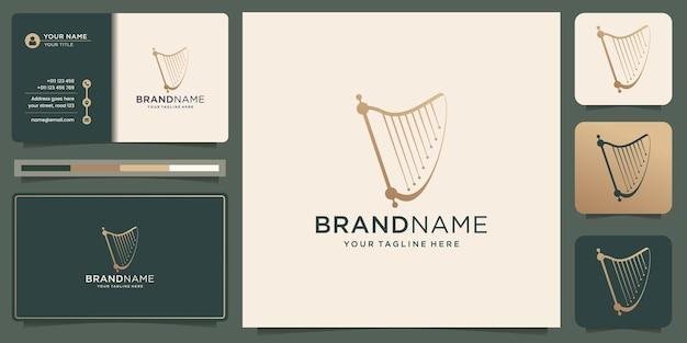 Projekt logo harfy z ilustracją szablonu wizytówki premium vector