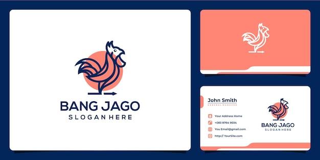 Projekt logo i wizytówka koguta w monoline