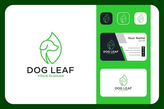 Projekt logo i wizytówka z zielonym liściem psa