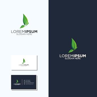 Projekt logo i wizytówki motyla i liścia