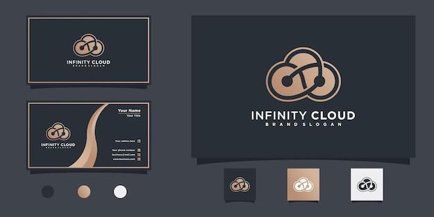 Projekt logo infinity cloud z unikalną koncepcją nieskończoności linii i projektem wizytówki premium wektor