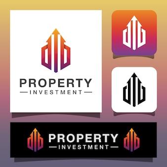 Projekt logo inwestycji nieruchomości w nowoczesnym kolorze, szablon wektor
