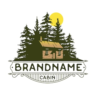 Projekt logo kabiny i lasu, house estate vintage, logo nieruchomości.