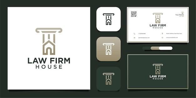 Projekt logo kancelarii prawnej dom i wizytówka