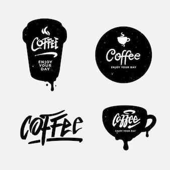Projekt logo kawy i szablon typografii