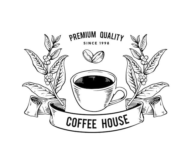 Projekt logo kawy w stylu vintage ze stylem grawerowania