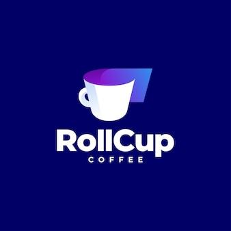 Projekt logo kawy z rolką papieru do picia
