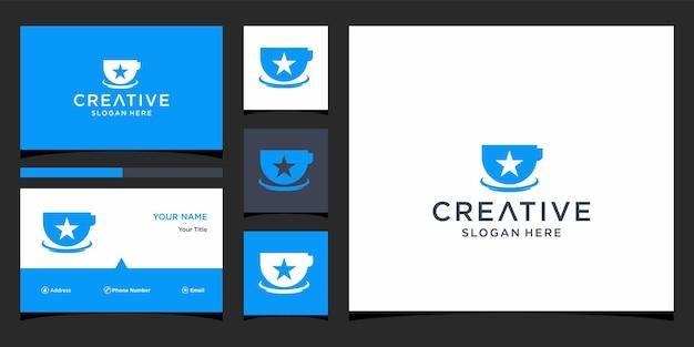 Projekt logo kawy z szablonem wizytówki