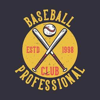 Projekt logo klubu baseballowego professional estd 1998