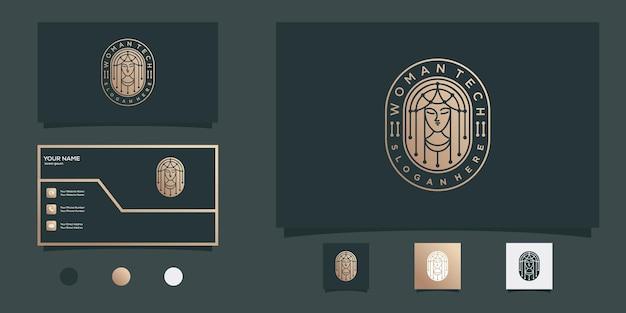 Projekt logo kobiety piękno tech z nowoczesnym złotym stylem godła i projektem wizytówki premium wektorów
