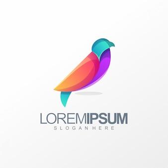 Projekt logo kolorowy ptak