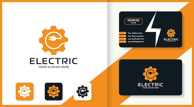 Projekt logo kombinacji wtyczki biegów i wizytówka