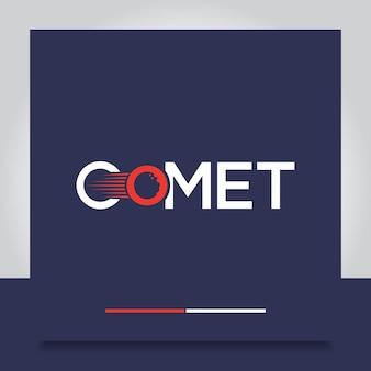 Projekt logo kometa lub typografia tekstu ognistej kuli