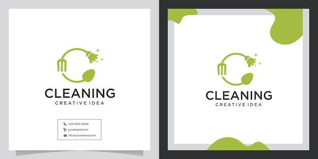 Projekt logo koncepcji czystej i sztućców