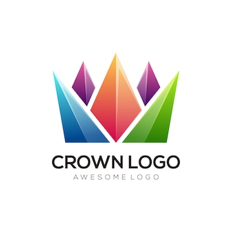 Projekt logo korony wektor nowoczesny kolorowy