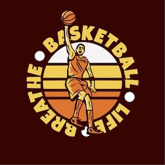 Projekt logo koszykówki oddycha życiem z mężczyzną grającym w koszykówkę robi slam dunk vintage ilustracji