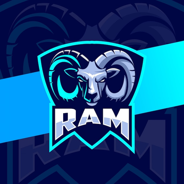 Projekt logo koza baran głowa maskotka esport