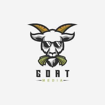 Projekt logo kozy z wektorem dla szablonu