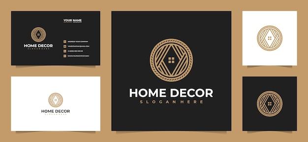 Projekt logo kreatywnej luksusowej dekoracji domu z wizytówką