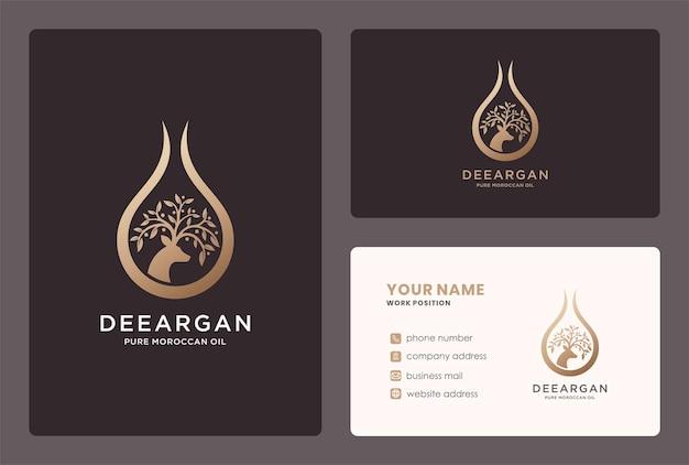 Projekt logo kropli naturalnego oleju arganowego z elementem gałęzi i jelenia.
