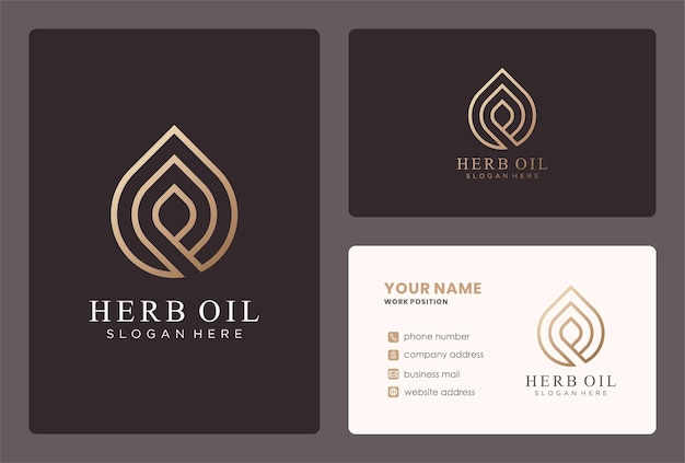 Projekt logo kropli oleju z monogramem w złotym kolorze.