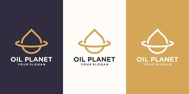 Projekt logo kropli wody w połączeniu z oliwkową planetą z pierścieniem planetarnym