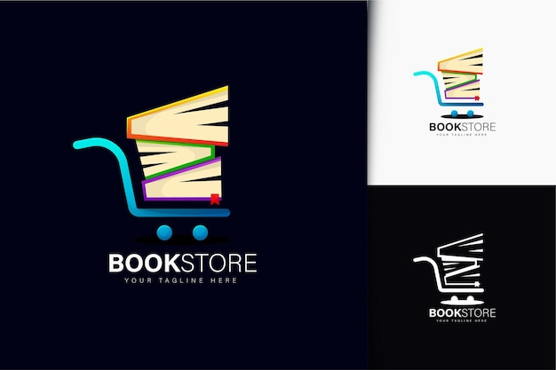 Projekt logo księgarni z gradientem